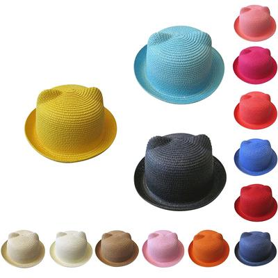 7cfe5cd8d1b Summer Fashion Baby Girls Boys Lovely Kids Solid Floppy Cat Ears Decor Straw  Hats