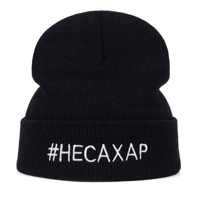 Winter Knitted Hat English Word Embroidery Beanie Hat Warm Hip Hop Bonnet Wool Unisex Caps