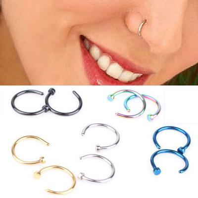 5 Colors Fake Piercing Nostril Hoop Stainless Steel Nose Rings