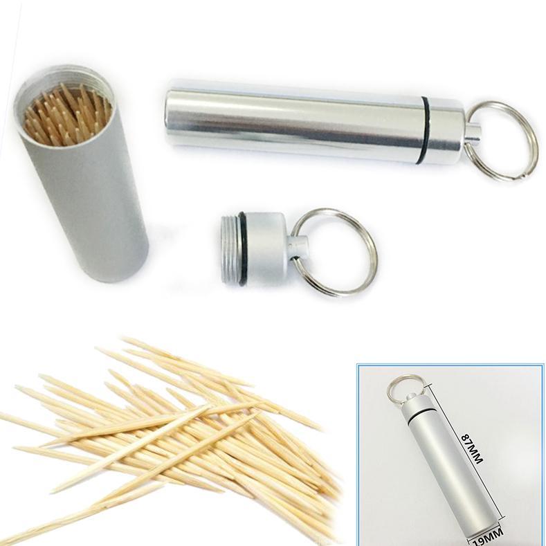 Portable Travel Pocket Toothpick Holder Waterproof Box Metal Pill Case LH