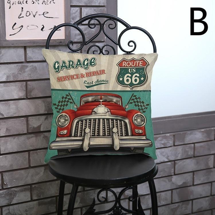 Mode Vintage Bunte Usa Auto Platte Route 66 Bettwäsche Kissen Decken