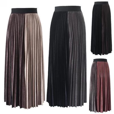 7803b24726f Осень зима мода женщин высокой талии цвет блока бархат плиссированные  длинная юбка