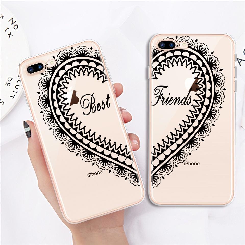 Amante migliori amici Soft Phone Borse Custodie cover per iPhone Samsung Huawei Xiaomi Redmi nota 7 caso