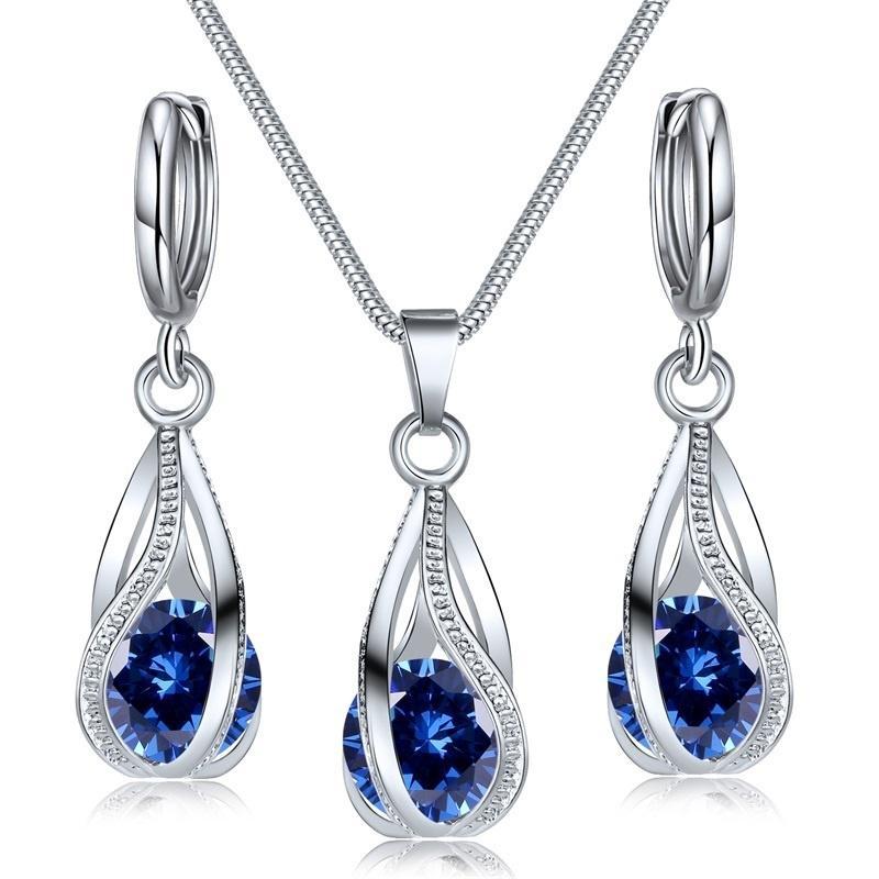 Кристаллводы Drop Pendent Ожерелье Серьги Набор для женщин Свадебный Подарок Хэллоуин