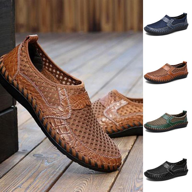 Men/'s Driving Shoes Slip on Loafers Leather Summer Breathable Mesh Casual