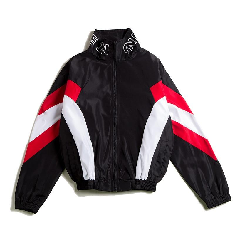 Retro Colorblocked Track Jacket Windbreaker Jacket Athletic Hip Hop Outdoor Windproof Coat