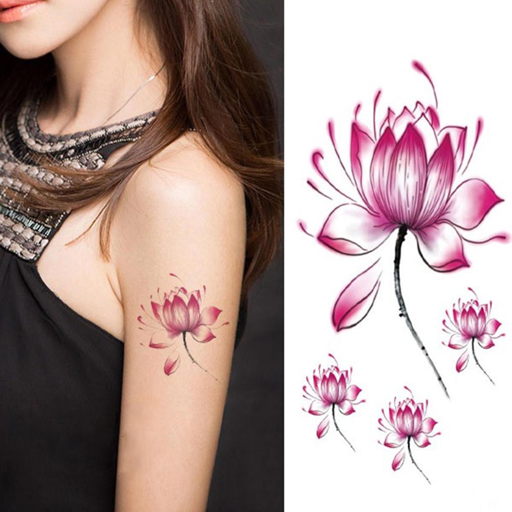 Wodoodporne Naklejki Tatuaż Kwiat Lotosu Kwiatowy Wzór Tymczasowy Tatuaż Body Art