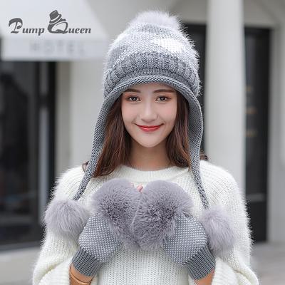 0205d6b1214 Winter Fur Pompom Knitted Hat Women Gloves Caps Girls Gorras Bonnet Warm  Hats For Mask Skullies
