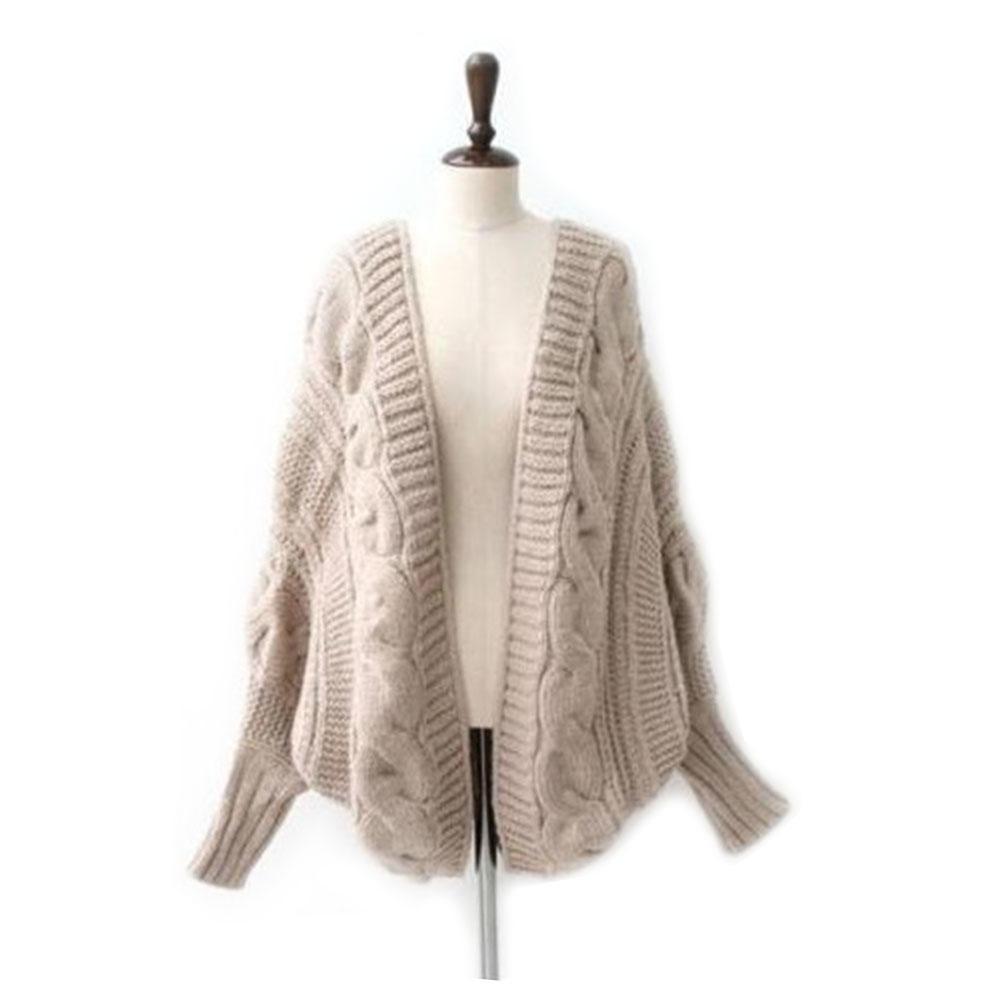 Moda mujer invierno Jersey murciélago manga Cardigan aguja de tejer ...