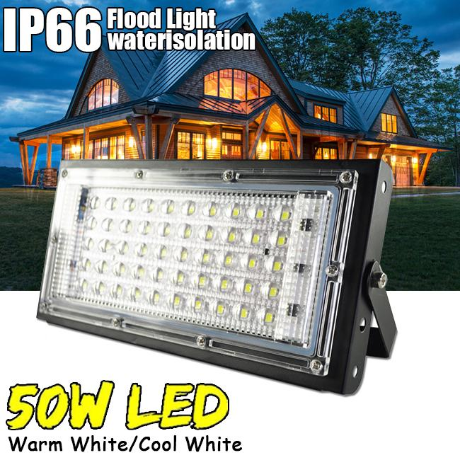50W LED Security Floodlight High Power Garden Spotlight Wall Lamp Warm White