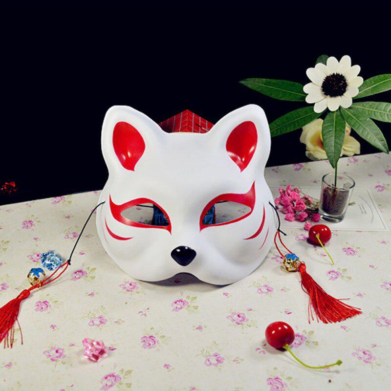 Japanese Style Demon Fox Full Face Mask Halloween Fancy Ball Cosplay Prop Mask