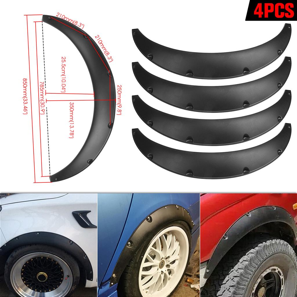 "4pcs 2/"" 50mm Flexible Car Wide Body Arche Wheel Fender Flare Extra Black"