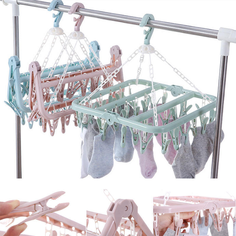 Silver Hanger Clips Stainless Steel Socks Bra Underwear Drying Rack Portable
