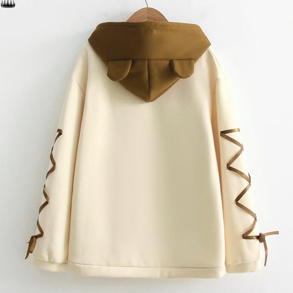 Женщины носят медведь Топ длинным рукавом колпачок с мило свитер мяч волосы ленты – купить по низким ценам в интернет-магазине Joom