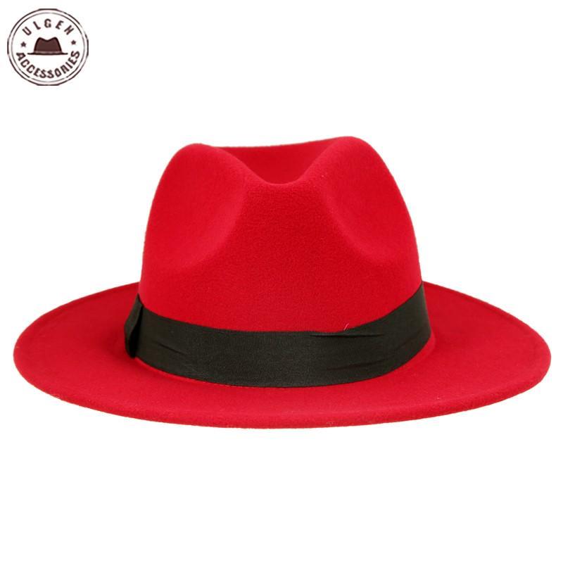 Vintage lana unisex sombreros grandes Jazz cloche de fieltro vaquero ... 54254fb4ba5