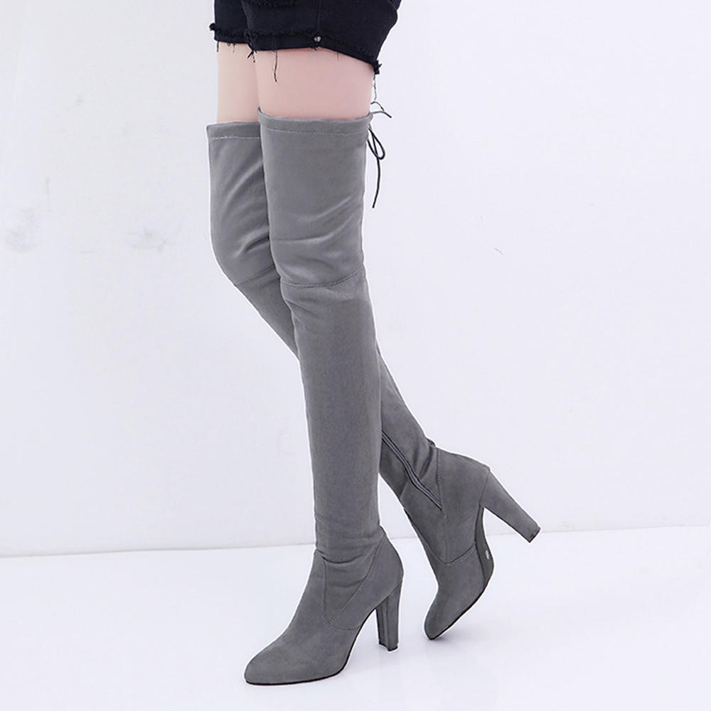 Details about  /Stylish Women Walking Shoes Thigh High Boots Female Stretch Faux Slim High Boot
