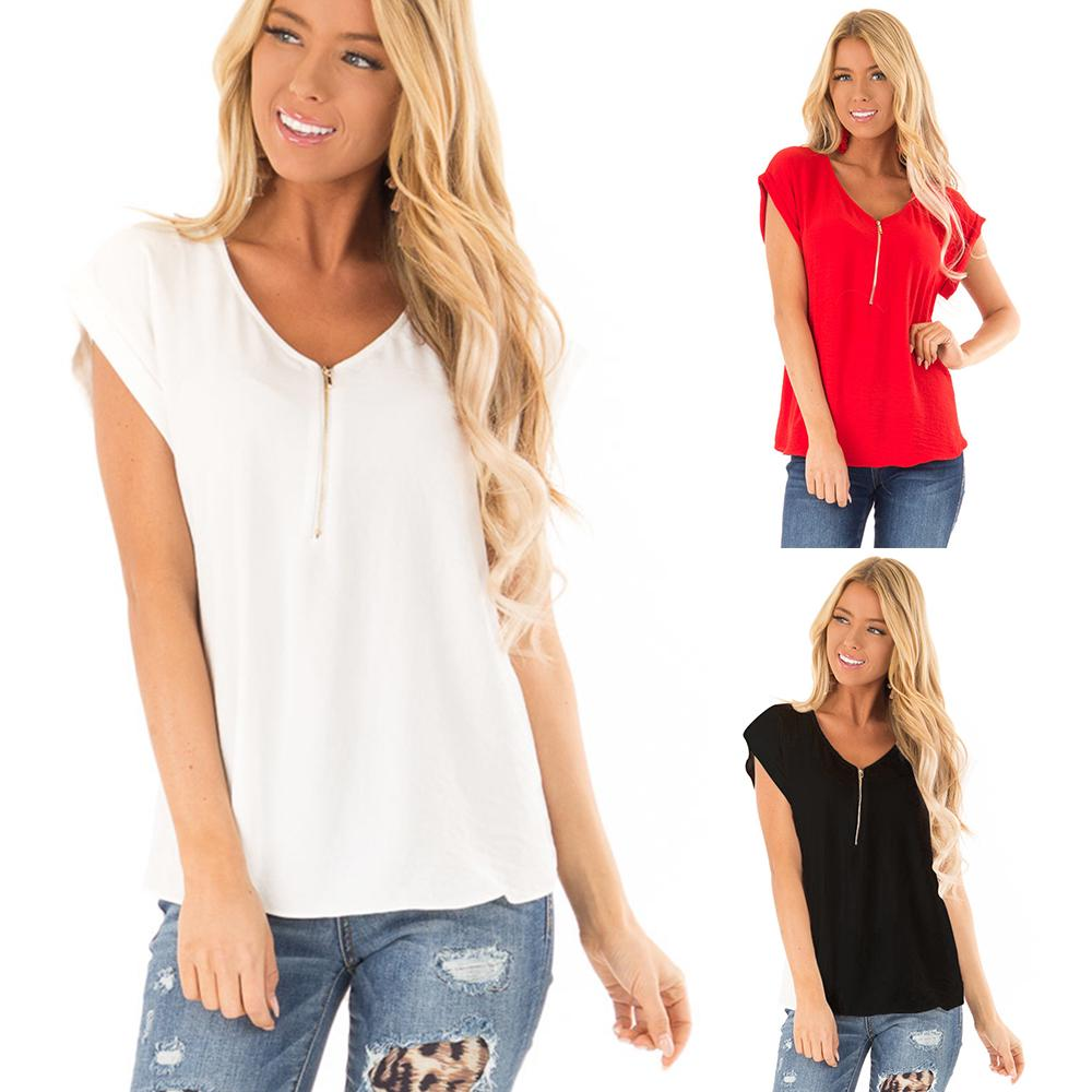 UK Women Short Sleeve V-Neck Solid Shirts Loose Tunic Baggy Tops Blouse Pullover