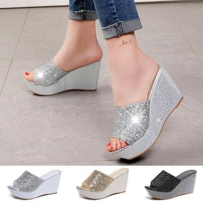 7a1ae1029 Women s Fashion Casual High Heel Wedge Skid Slippers Sandals Silver Bling  Flip Flops Summer Shoes