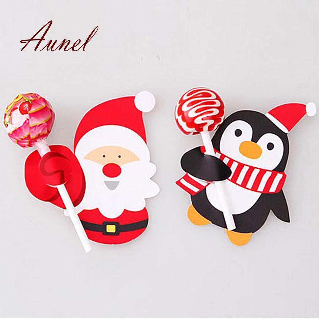 48Pcs Árbol de Santa Claus muñeco de nieve adhesivo de sellado etiquetas de papel decoración de envolvente