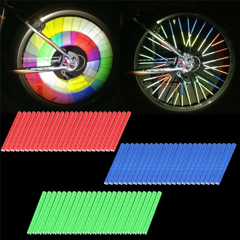 24pcs Cycling Bike Wheel Spoke Reflector Clips Reflective Warning Strip Tube