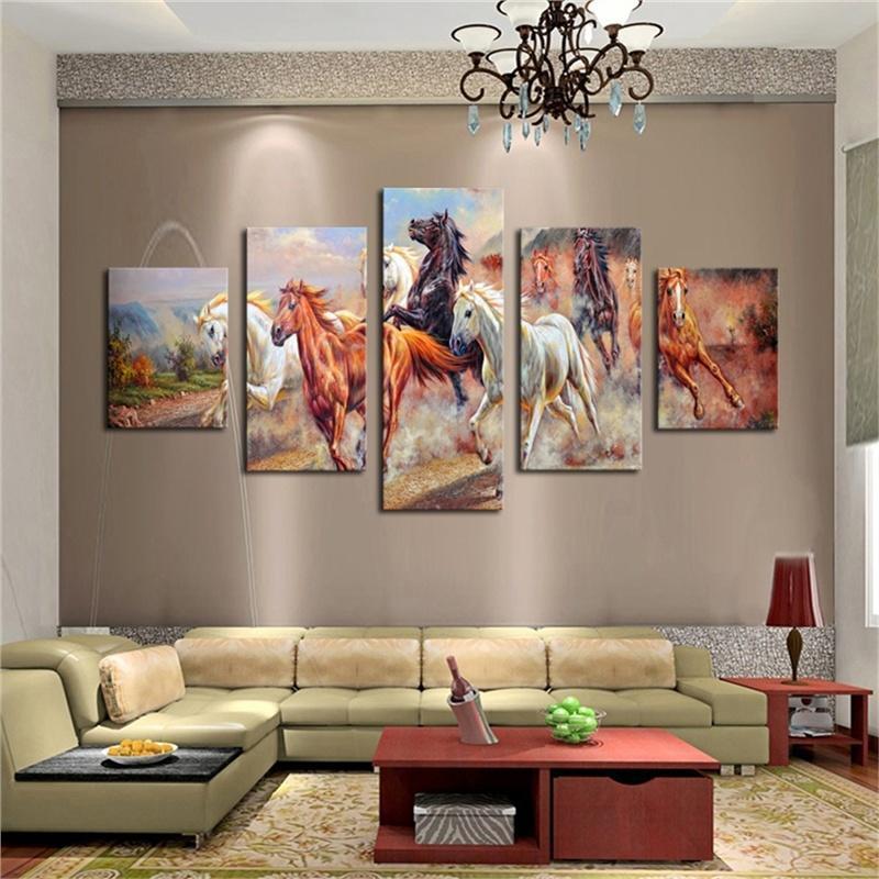 Caballos sin marco grandes modernos 5pcs impresión pinturas cuadros ...