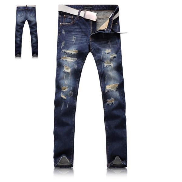 Tendencia de la moda arrancó Jeans marco Denim Slim jóvenes ...