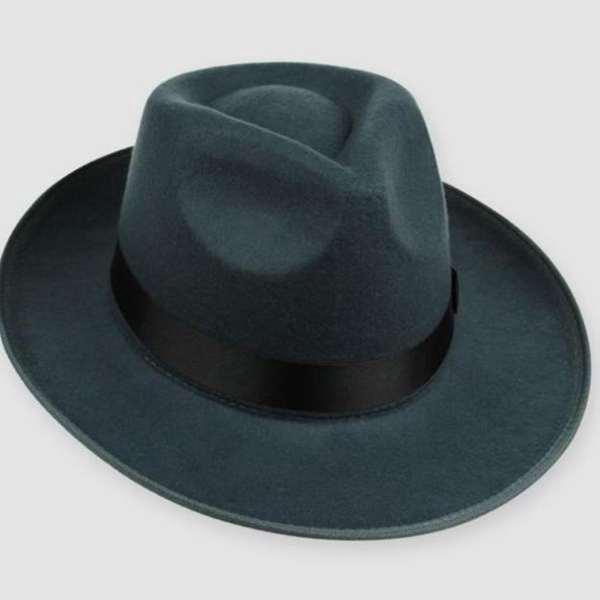 7136d73f505f1 Retrô Unisex difícil sentiu Fedora Trilby chapéu Gangster Cap fita banda