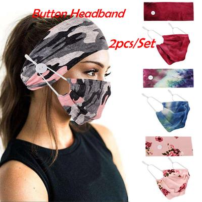 Paisley Print Headband Soft Cotton Elastic with Buttons for Face Cover