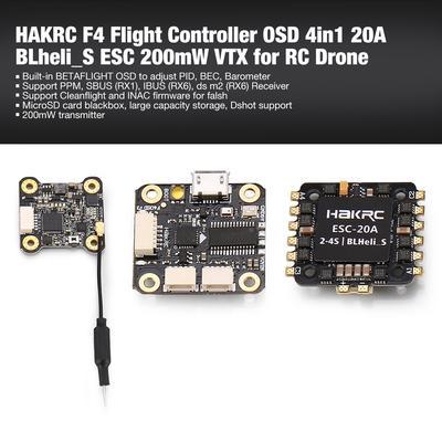 HAKRC F4 Flight Controller OSD 4in1 20A BLheli_S ESC 200mW VTX for RC Drone