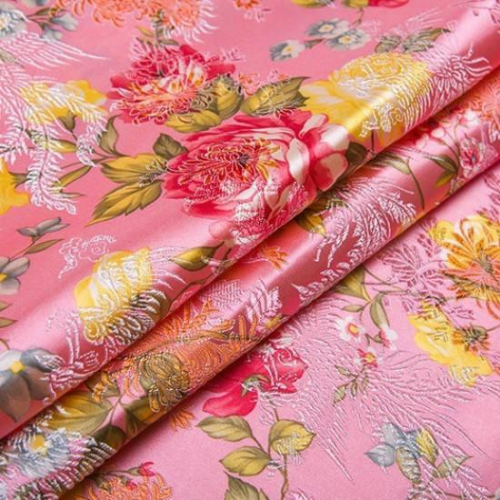 Flowers Satin Faux Silk Fabric Chinese Damask Brocade Clothes Craft DIY Vintage