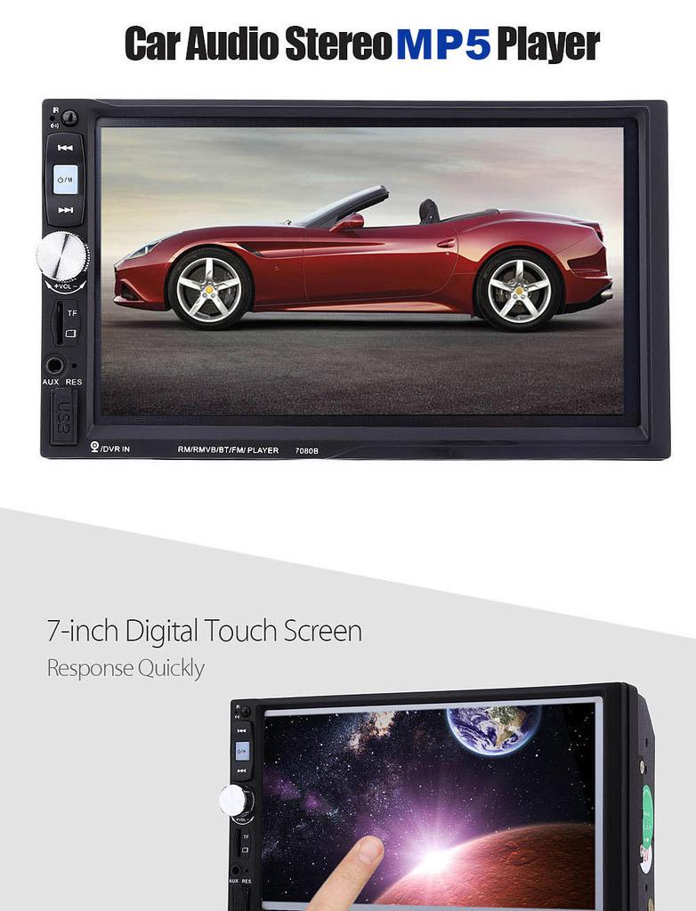 Car radios 7080b 7 inch car audio stereo MP5 player remote control rear  view camera