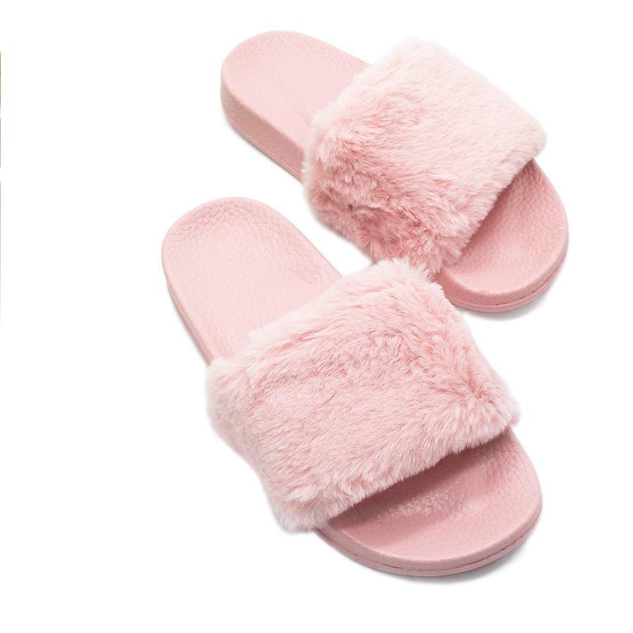 Womens Ladies Slip On Sliders Fluffy Faux Fur Flat Slipper Flip Flop Girl Slides