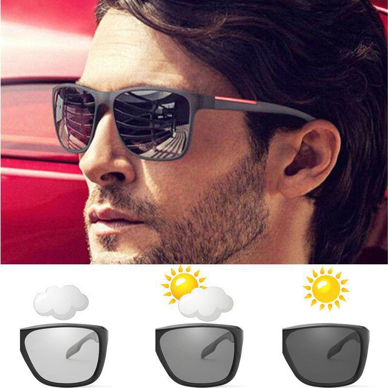 Men/'s Photochromic Polarized Sunglasses UV400 Transition Lens Driving Glasses