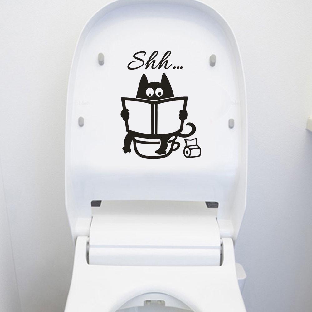 Bathroom Supplies Cartoon Decal Funny Mural PVC Poster Washroom Toilet Stickers