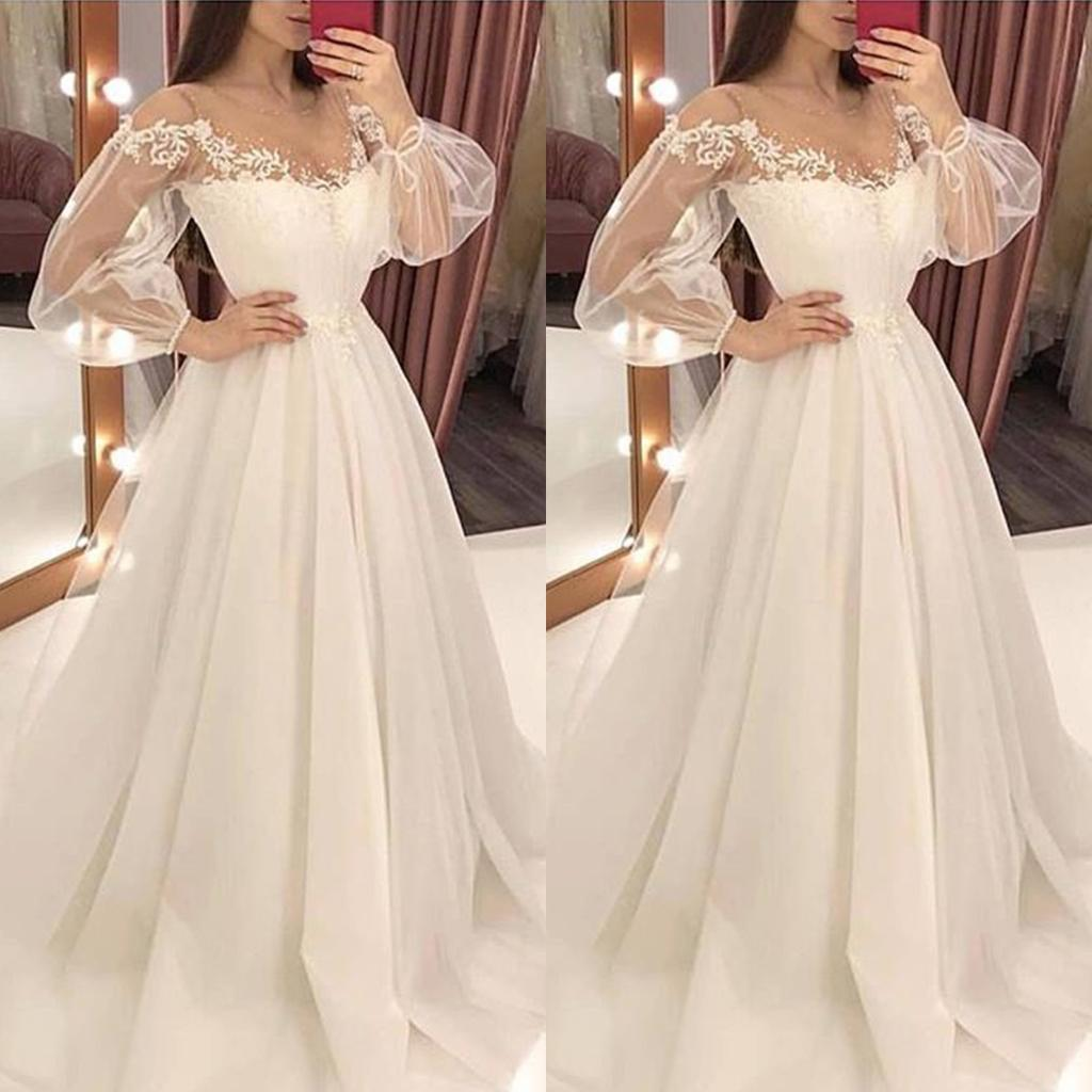 Frau weiß elegant Sexy Hochzeit ausgehöhlt Off Shoulder Mesh Tüll Kleid  Party Abendkleid
