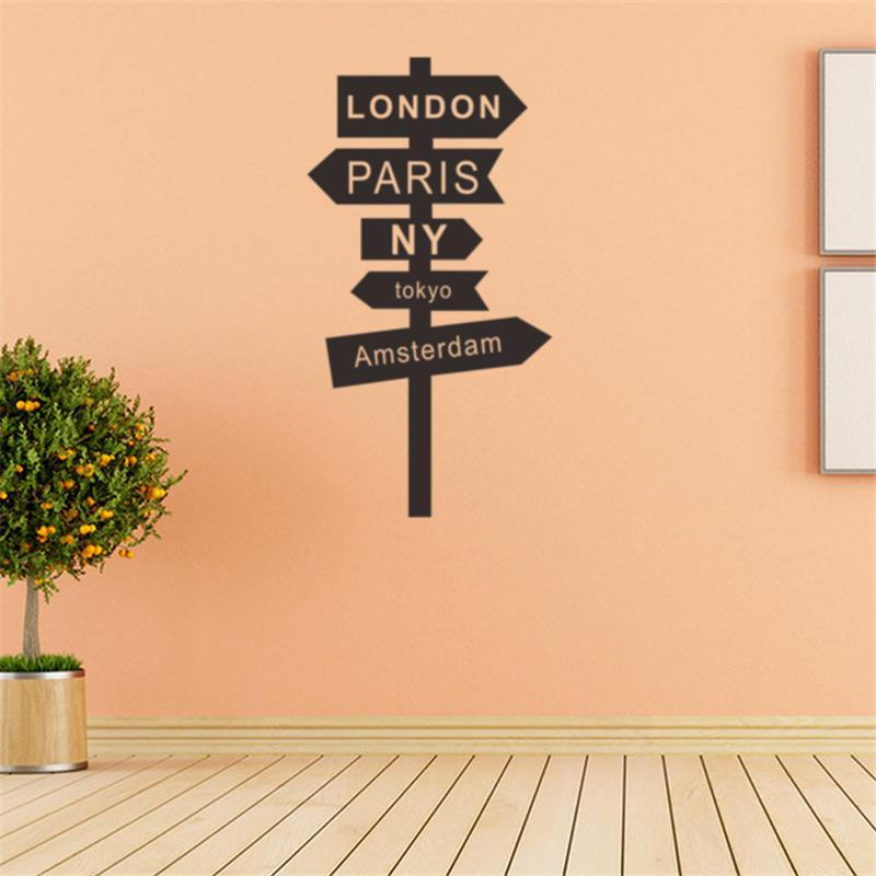 Road Sign Wall Sticker Home Decor Diy Posters Living Room Bedroom ...
