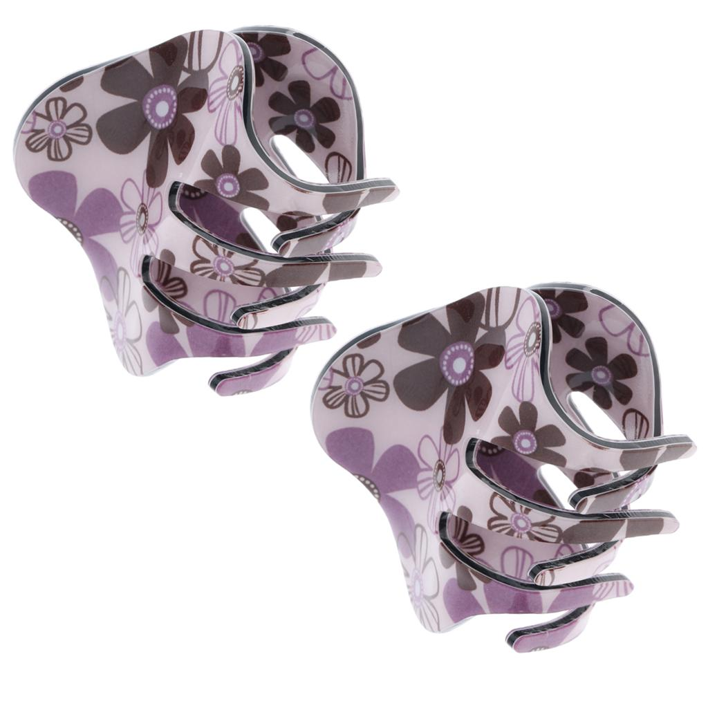 MagiDeal Simple Design Floral Gorgeous Large Acrylic Hair Claw Clamp Clip Hairpin Headwear Accessory for Women Girls 1 Piece as described Purple