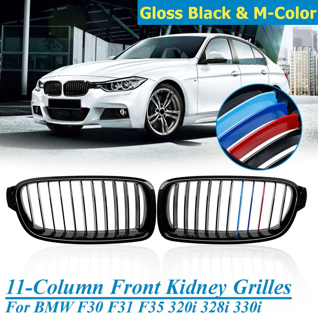 Gloss Black F30 Grille ABS Front Replacement Hood Kidney Grill For BMW 3 series F30 F31 F35 2012-2016