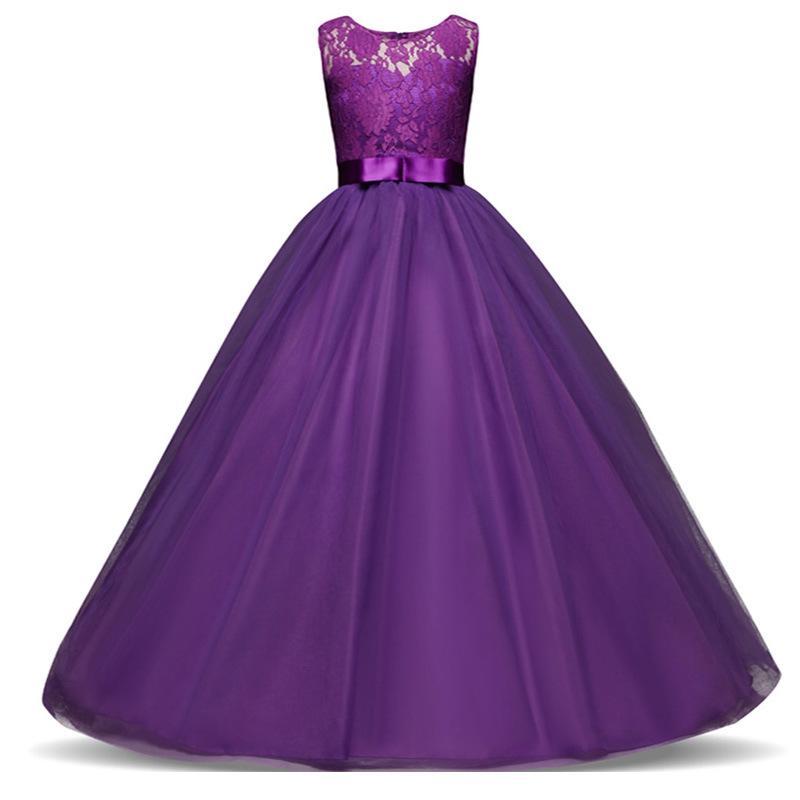 Chica moño encaje Vestidos largos niños princesa Tutu de boda ...