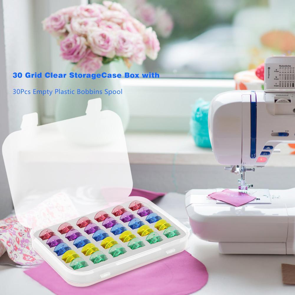 30pcs Plastic Domestic Sewing Machine Empty Bobbins Spool