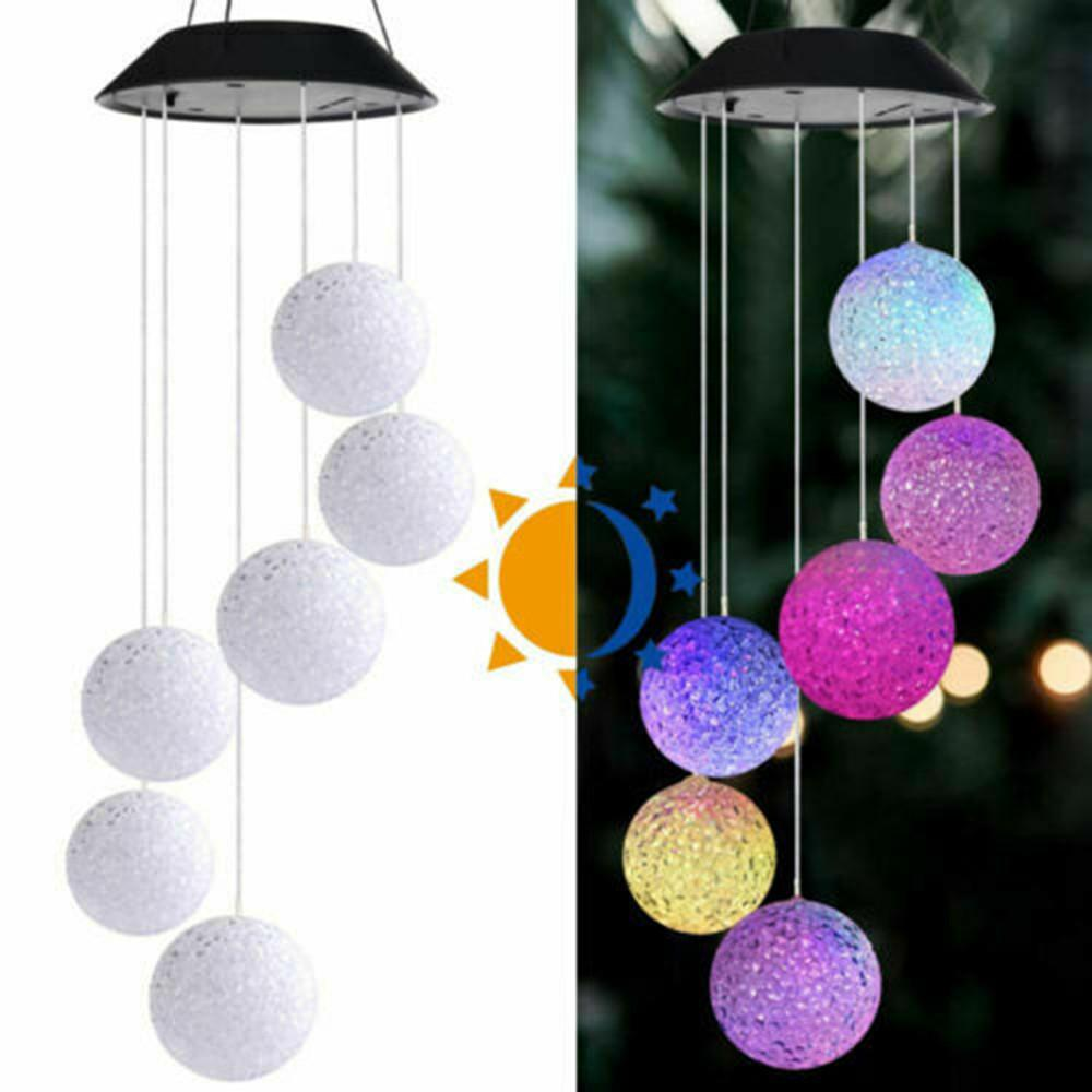 LED Light Hanging Wind Chimes Ball Solar Powered Colour Changing Garden Outdoor