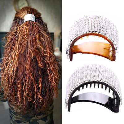 Black Round Crystal Rhinestone Hair Claw Bling Hair Clip Clamp Ponytail Holder,.