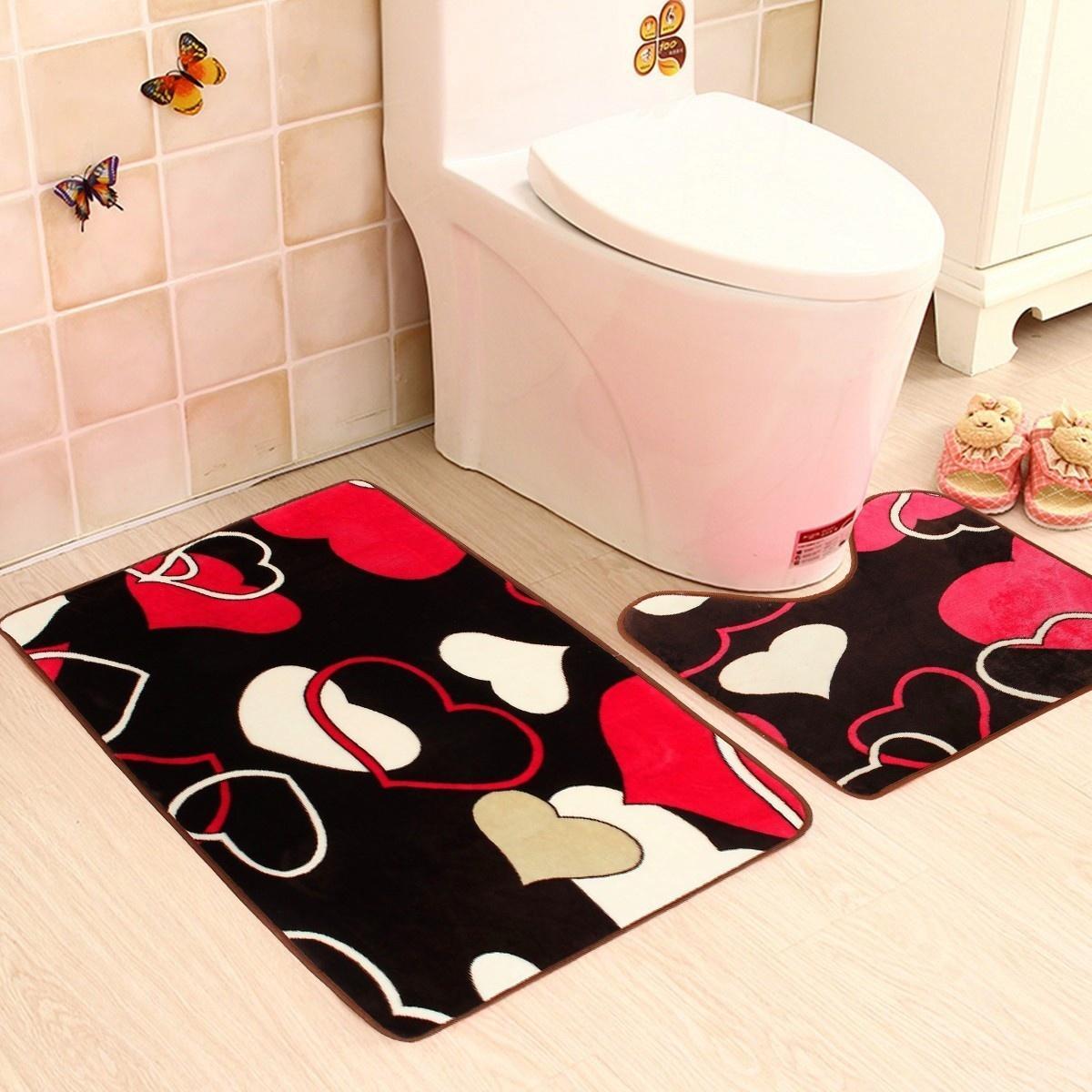 厂家卫生间地毯法兰绒u型地垫两件套马桶浴室卫浴防滑地垫定制
