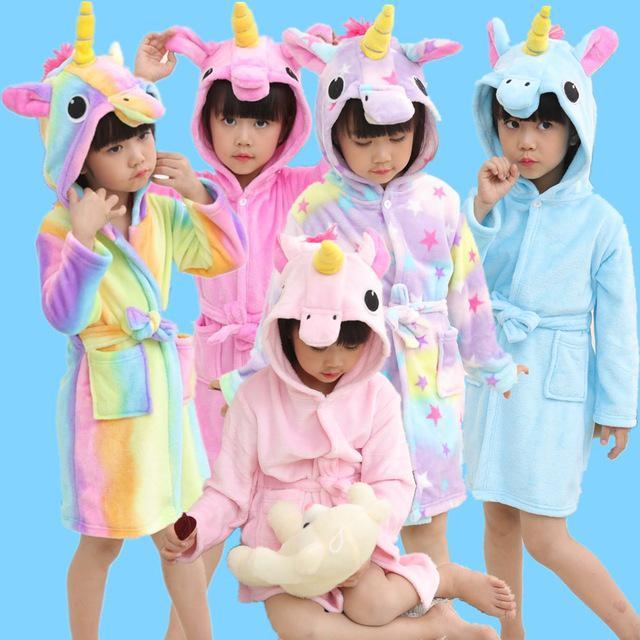 Kids Girls Boys Unicorn Dressing Gown Hooded Bath Robe Animal Print Night Wear
