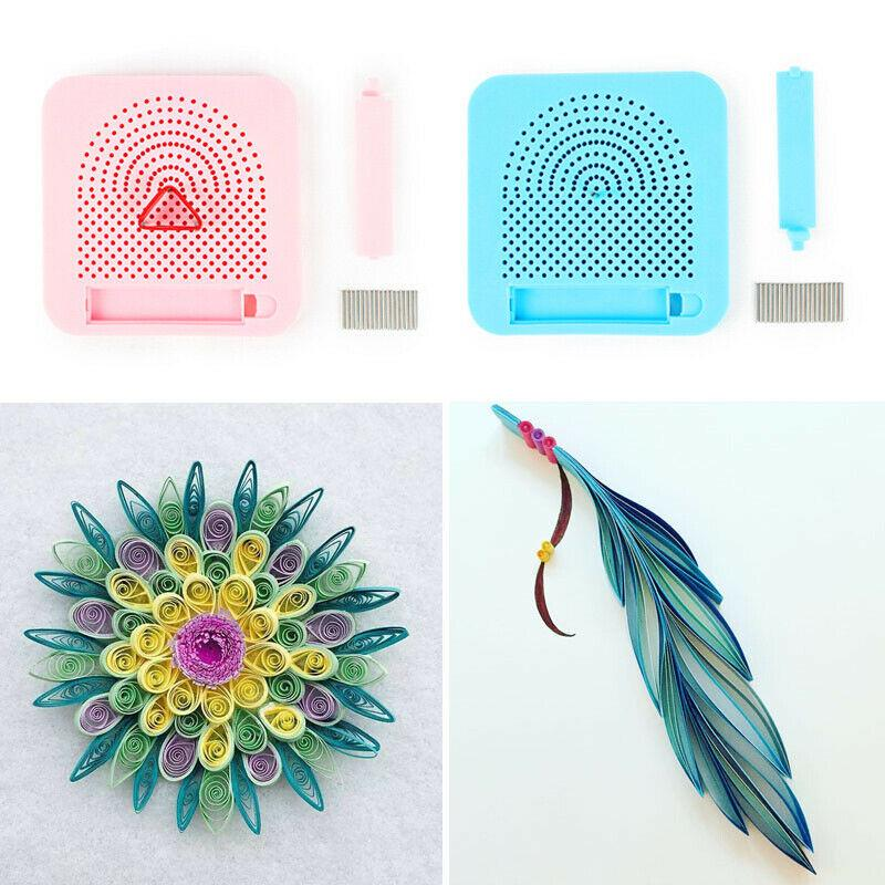 Paper Quilling Board with Grid Guide Paper Winder Roll Square Craft Tools L9J9