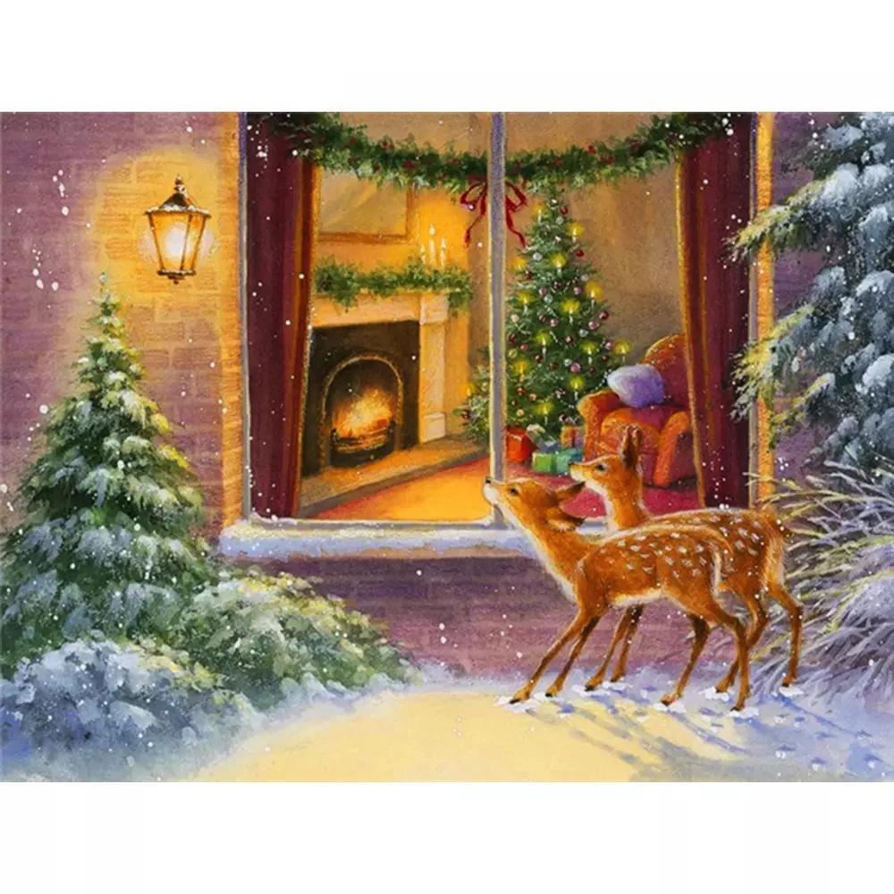 5D DIY Christmas Diamond Painting Deer Mosaic Winter Embroidery Cross Stitch