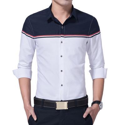 0847f8ca58 Outono de novo homens de marca de roupas moda Slim Fit manga longa camisa  Patchwork Chemise