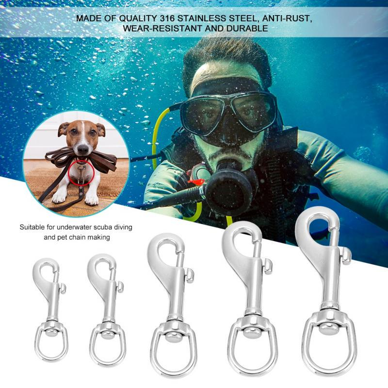 316 Stainless Steel Hook Eye Clasp Snap Hook for Straps Bags Diving