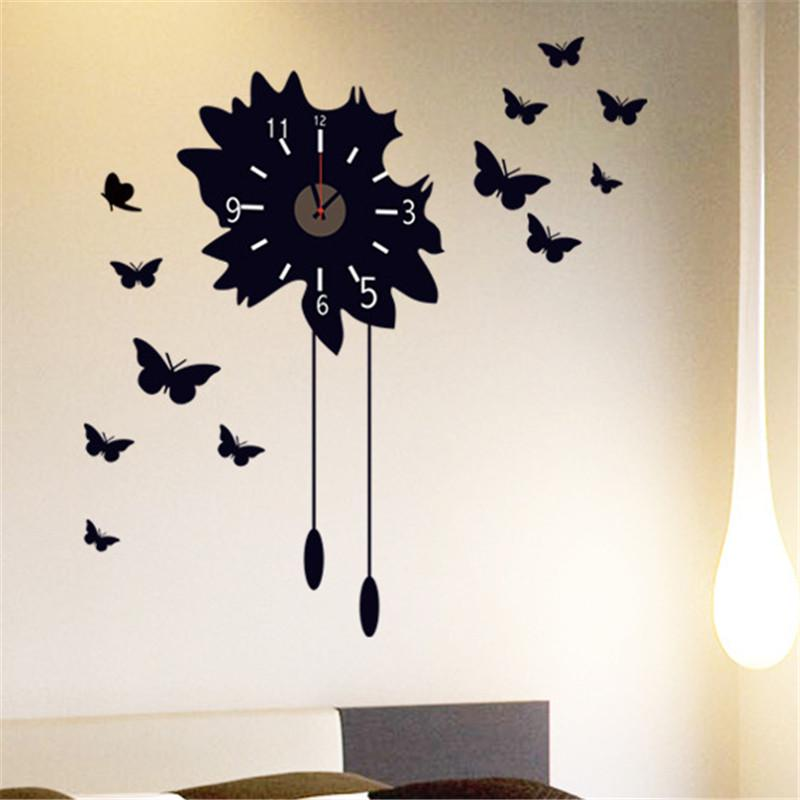 Household Belle Flower Butterfly Pattern Removable Wall Sticker Decor