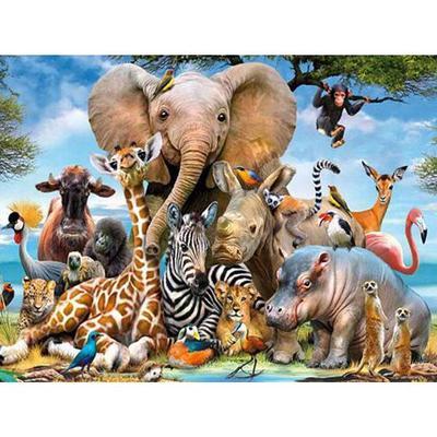 Full Drill 5D Diamond Mosaic Rhinestone Jungle Animals Cross Stitch Souvenir